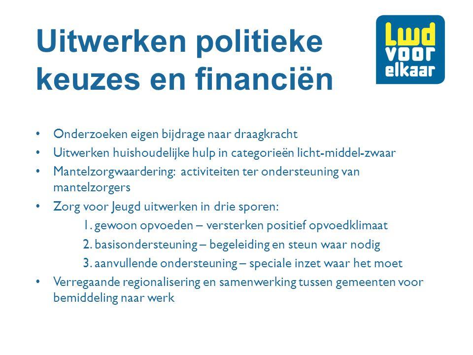 Uitwerken politieke keuzes en financiën