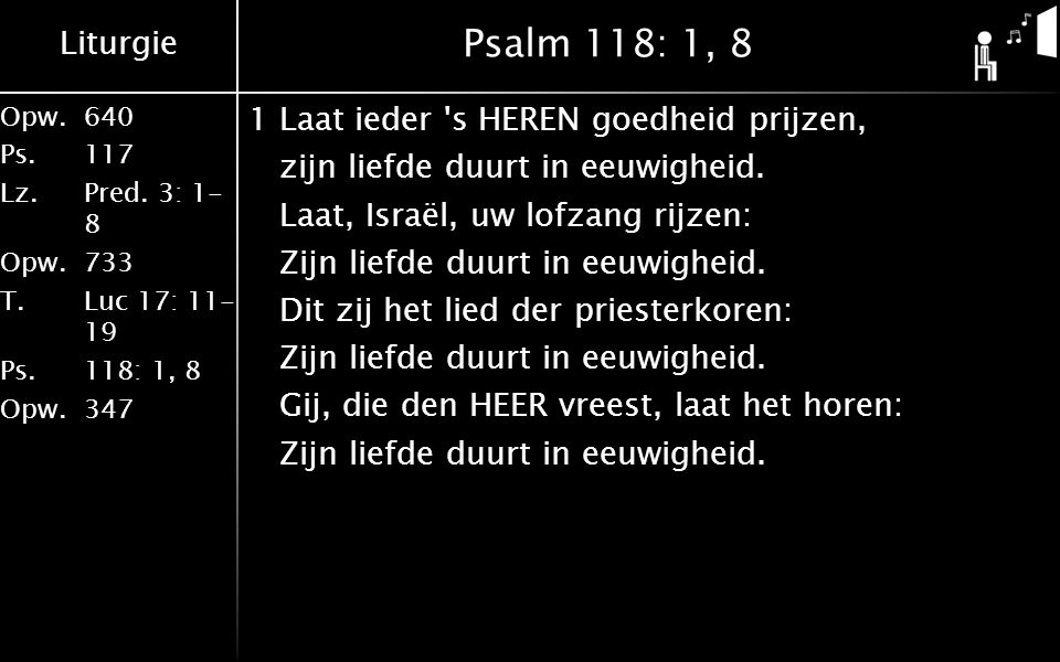 Psalm 118: 1, 8