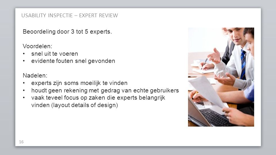 USABILITY INSPECTIE – EXPERT REVIEW