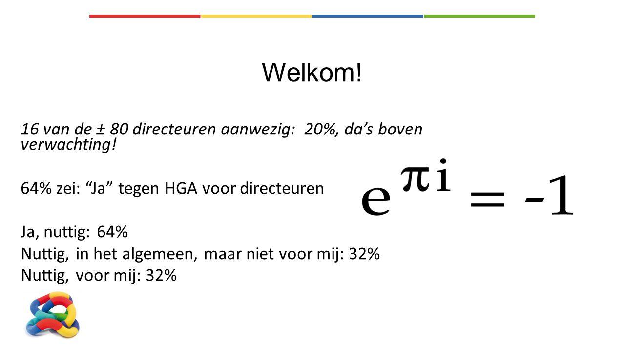 Welkom! 16 van de ± 80 directeuren aanwezig: 20%, da's boven verwachting! 64% zei: Ja tegen HGA voor directeuren.