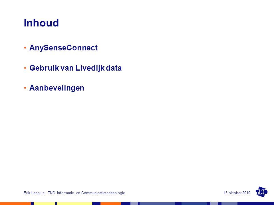 Inhoud AnySenseConnect Gebruik van Livedijk data Aanbevelingen