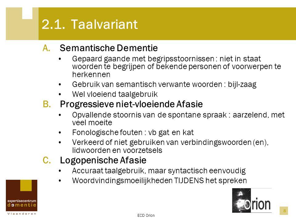 2.1. Taalvariant Semantische Dementie