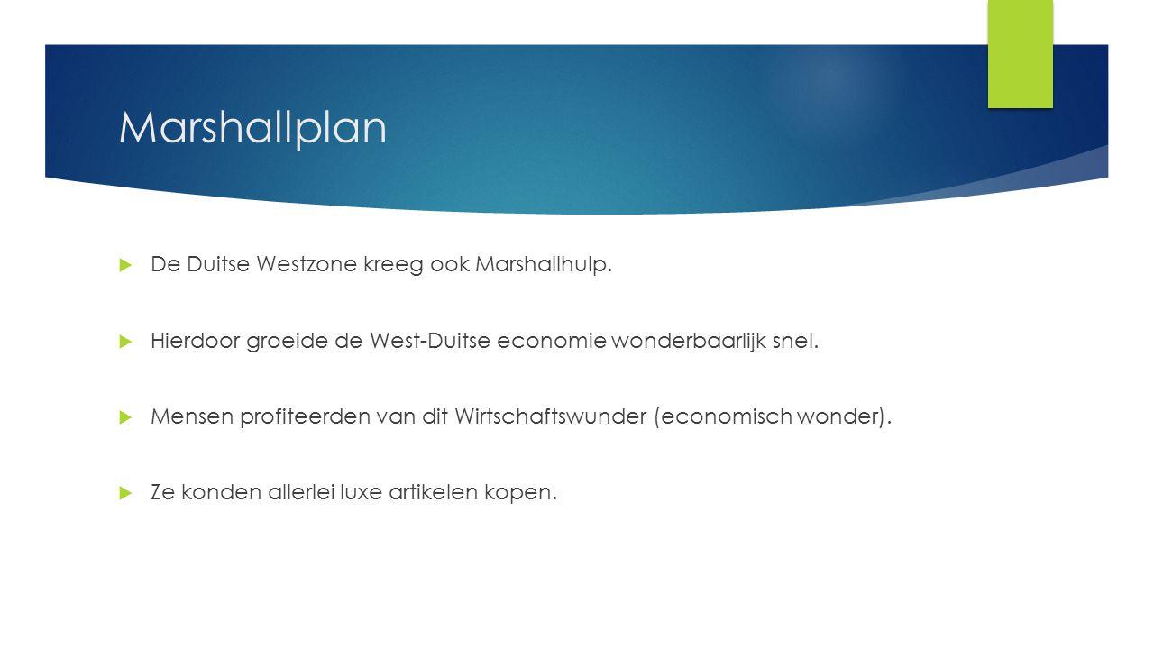 Marshallplan De Duitse Westzone kreeg ook Marshallhulp.