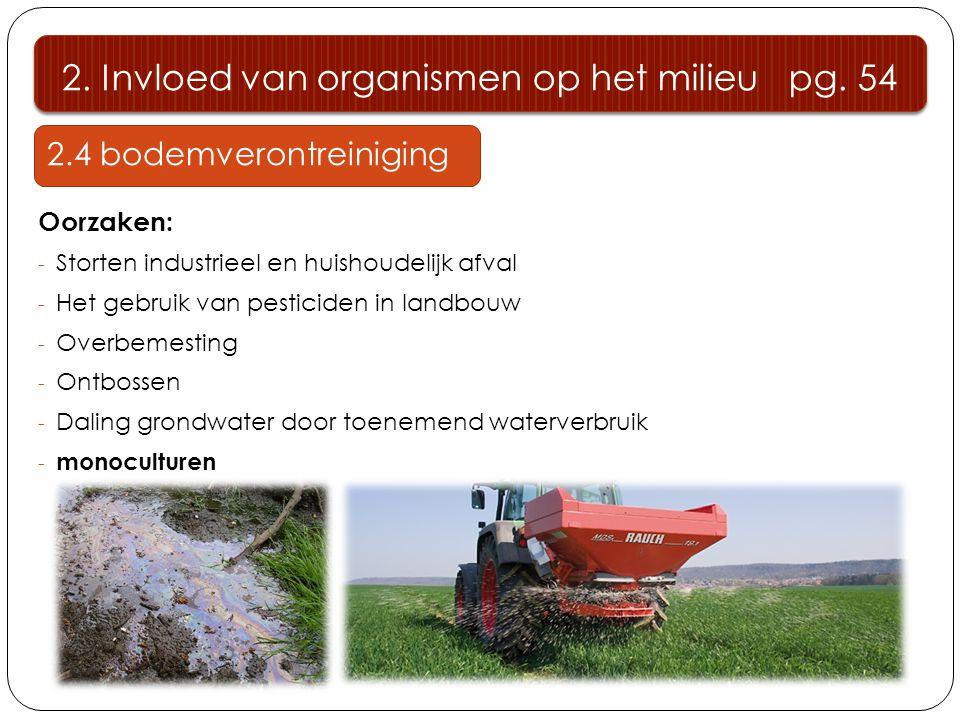 2. Invloed van organismen op het milieu pg. 54