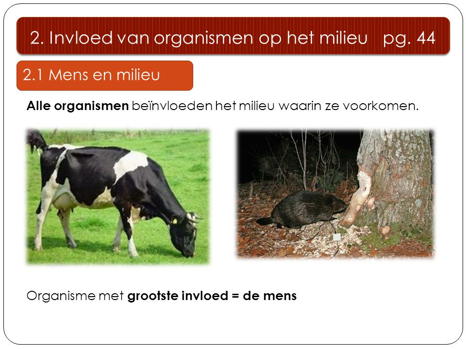 2. Invloed van organismen op het milieu pg. 44