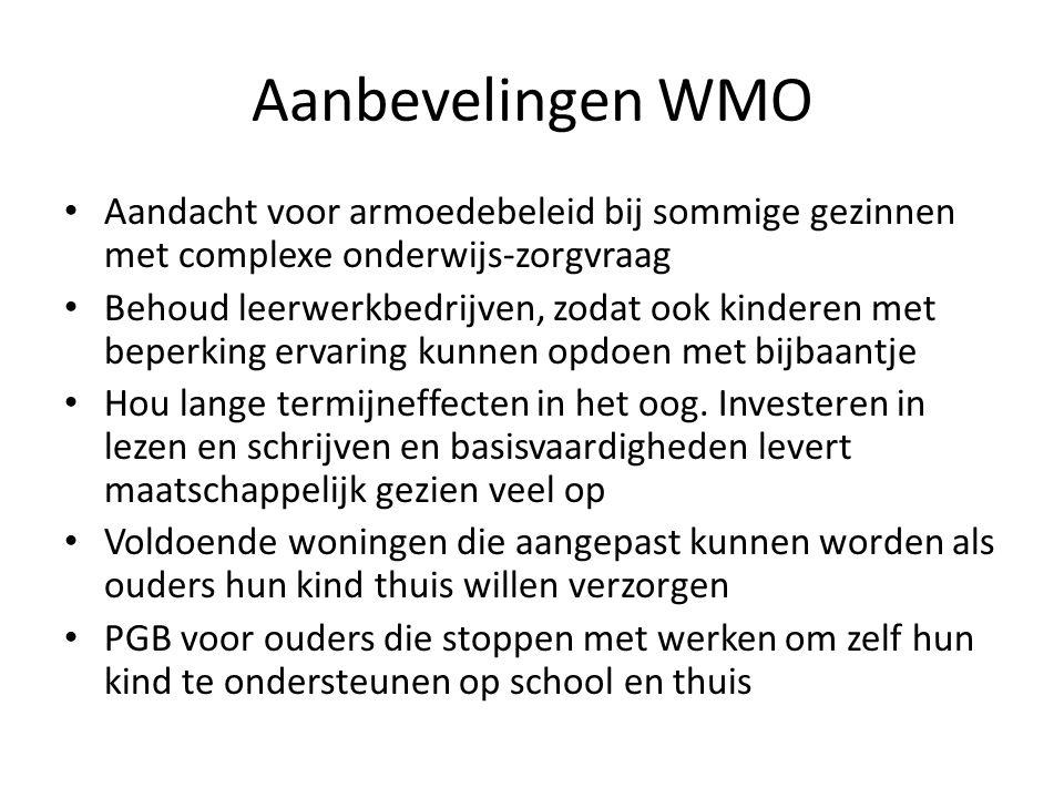 Aanbevelingen WMO Aandacht voor armoedebeleid bij sommige gezinnen met complexe onderwijs-zorgvraag.