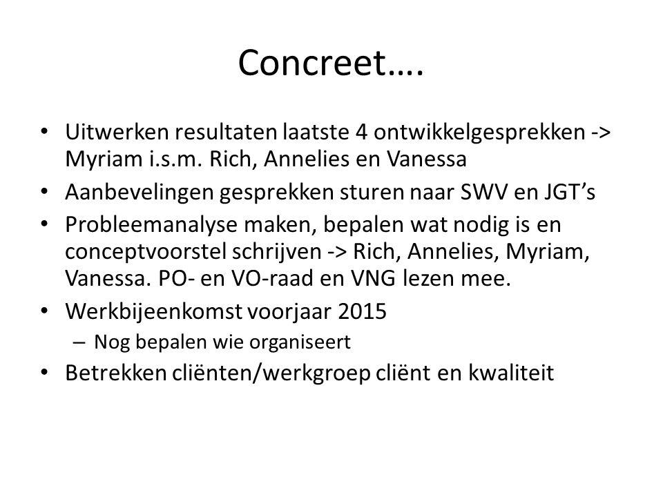 Concreet…. Uitwerken resultaten laatste 4 ontwikkelgesprekken -> Myriam i.s.m. Rich, Annelies en Vanessa.
