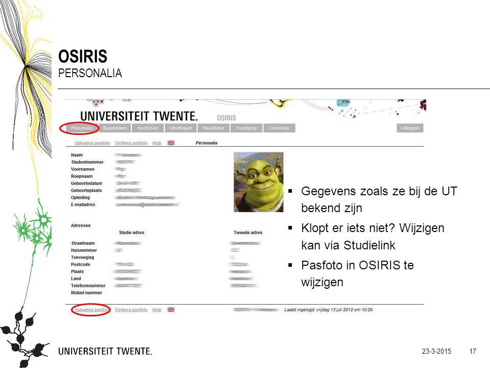 OSIRIS Personalia Gegevens zoals ze bij de UT bekend zijn