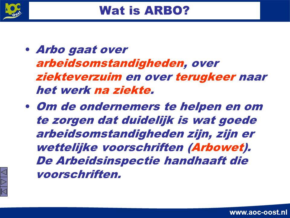Wat is ARBO Arbo gaat over arbeidsomstandigheden, over ziekteverzuim en over terugkeer naar het werk na ziekte.