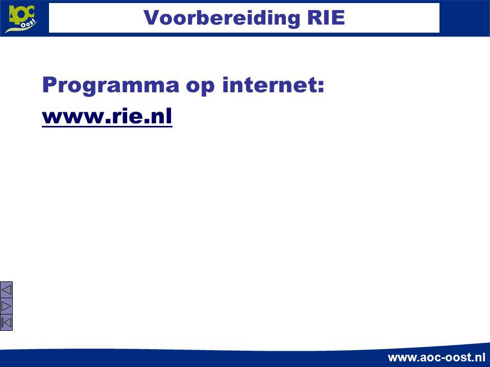 Programma op internet: www.rie.nl