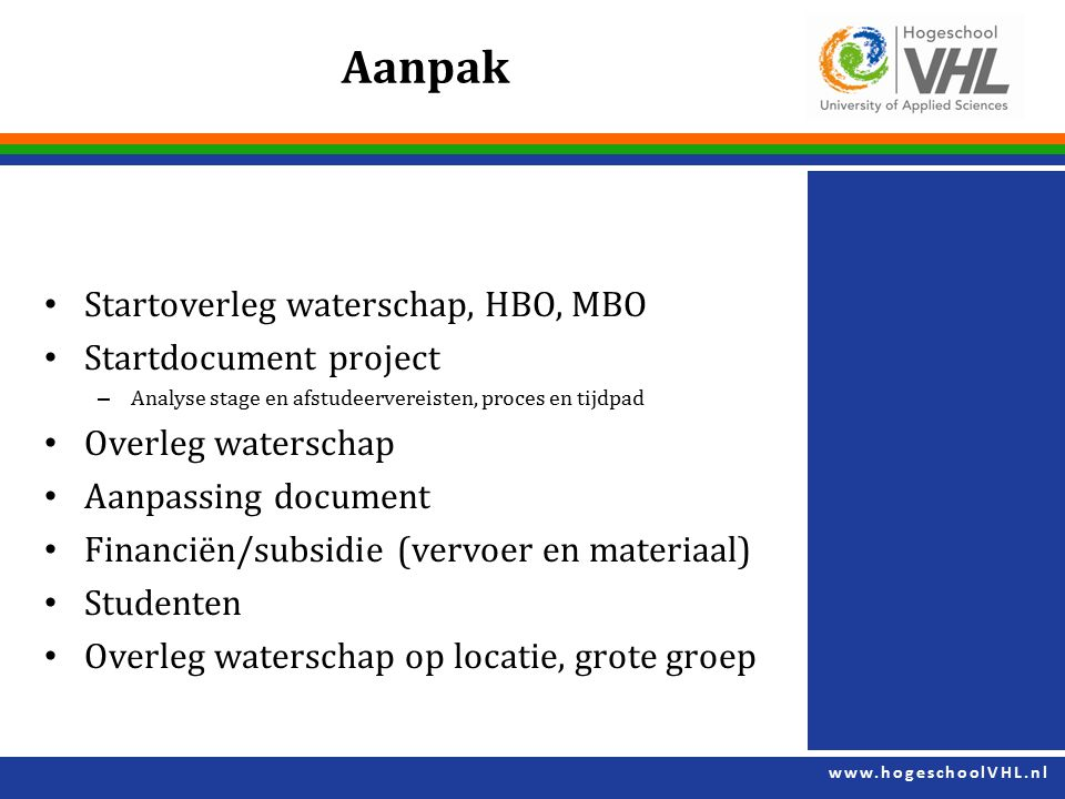 Aanpak Startoverleg waterschap, HBO, MBO Startdocument project
