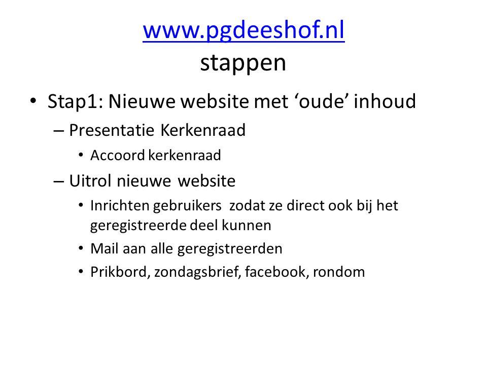 www.pgdeeshof.nl stappen