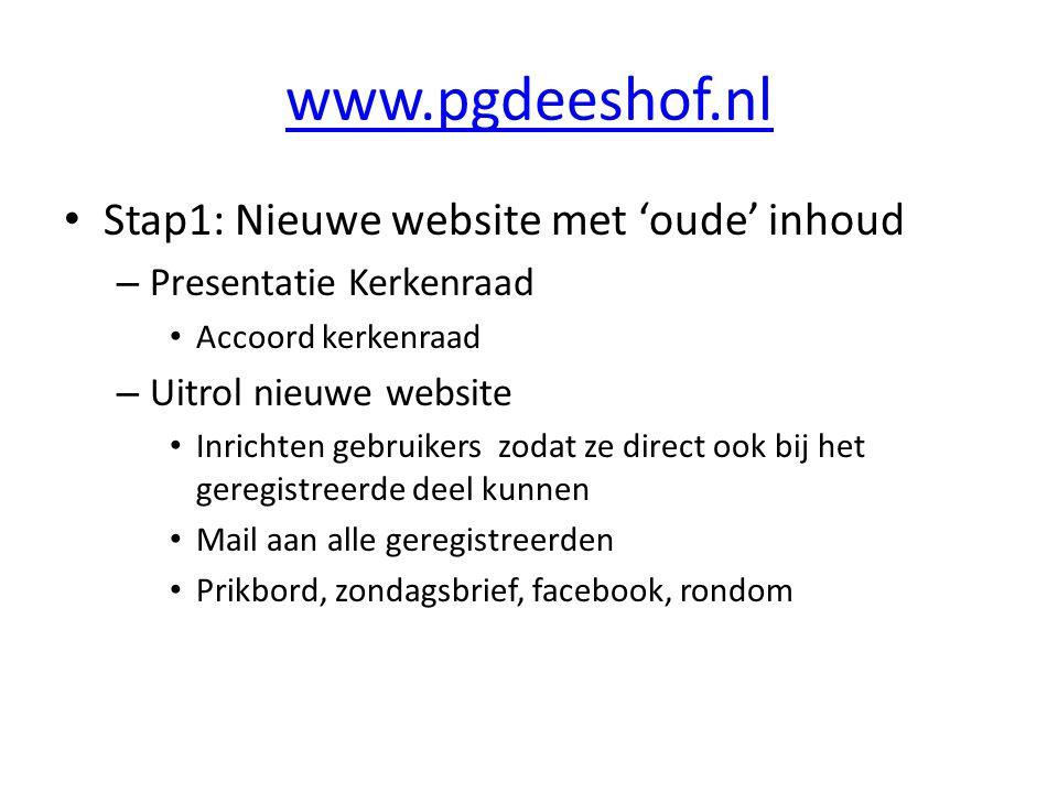 www.pgdeeshof.nl Stap1: Nieuwe website met 'oude' inhoud