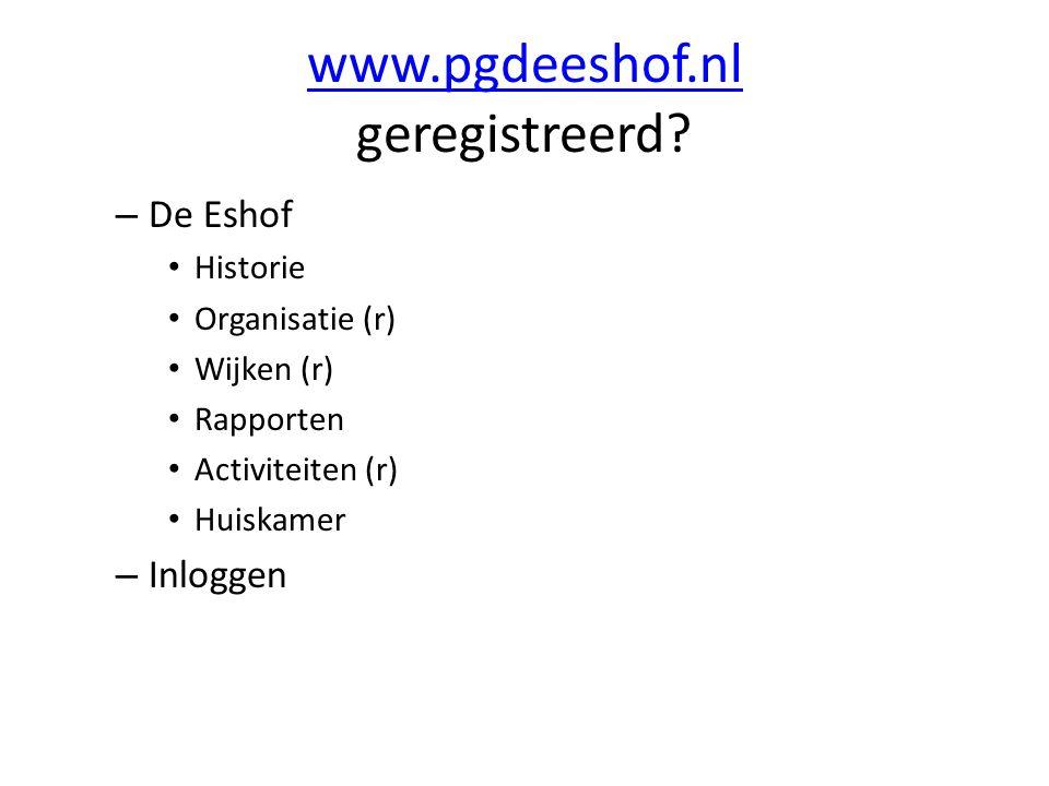 www.pgdeeshof.nl geregistreerd