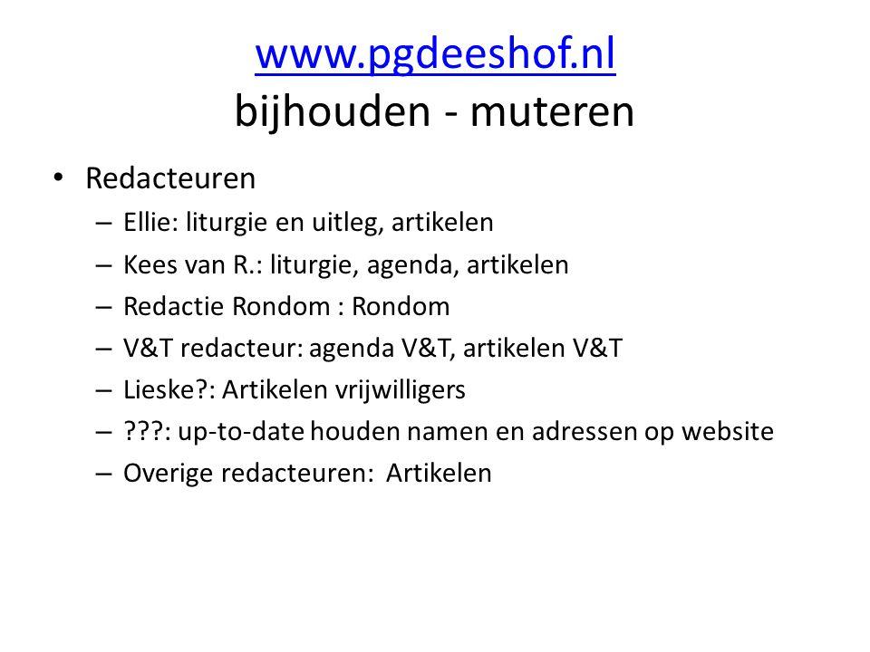 www.pgdeeshof.nl bijhouden - muteren