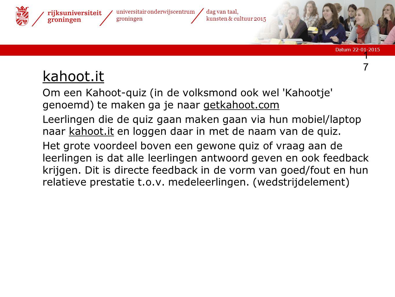 kahoot.it Om een Kahoot-quiz (in de volksmond ook wel Kahootje genoemd) te maken ga je naar getkahoot.com