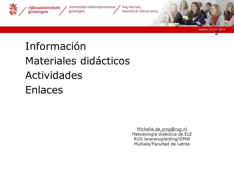 Materiales didácticos Actividades Enlaces