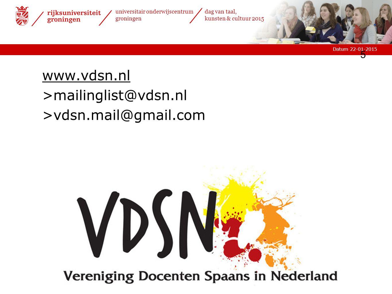www.vdsn.nl mailinglist@vdsn.nl vdsn.mail@gmail.com