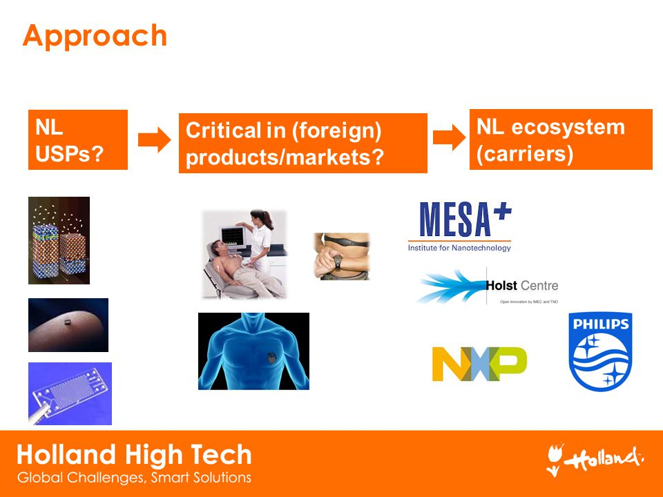 Approach NL USPs NL ecosystem Critical in (foreign) products/markets