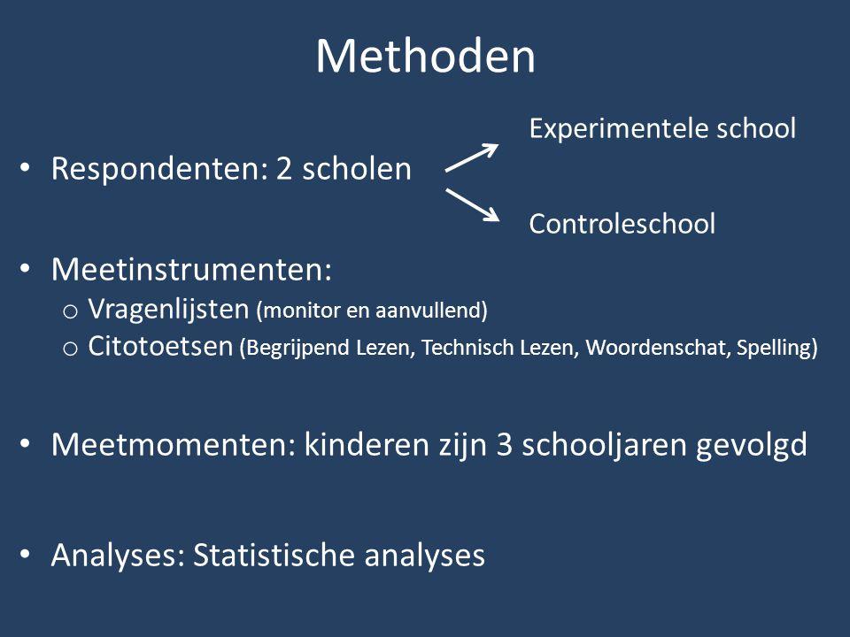 Methoden Respondenten: 2 scholen Meetinstrumenten: