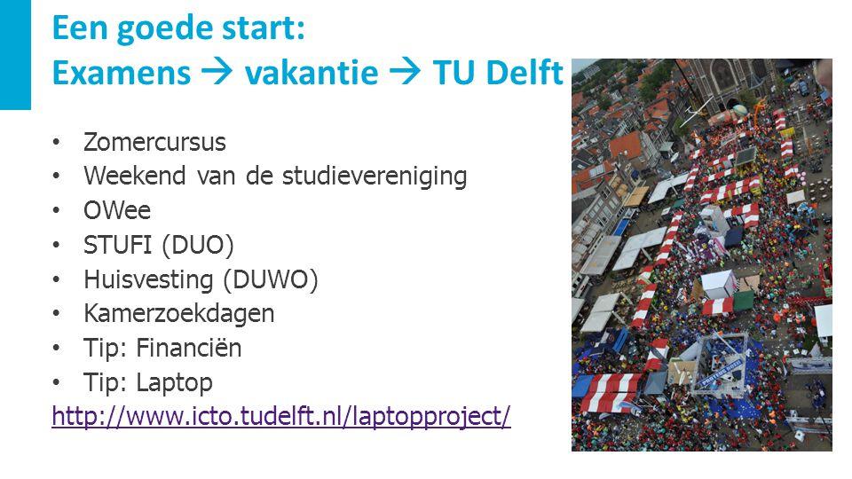 Een goede start: Examens  vakantie  TU Delft