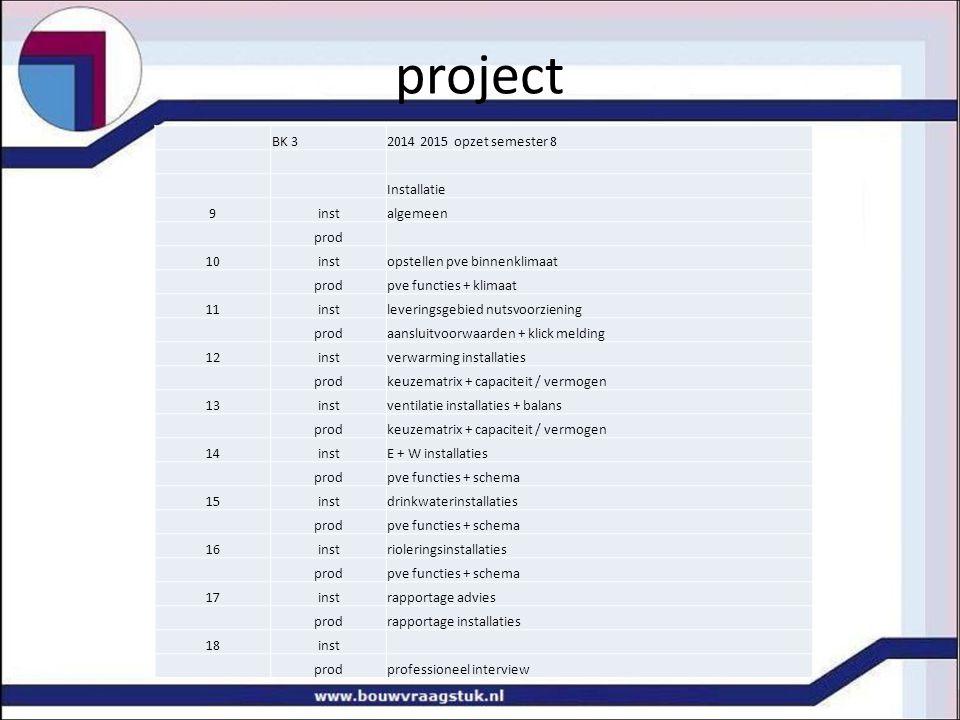 project BK 3 2014 2015 opzet semester 8 Installatie 9 inst algemeen