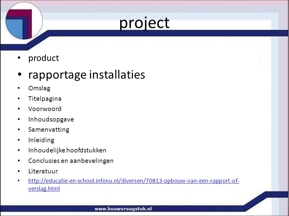 project rapportage installaties product Omslag Titelpagina Voorwoord