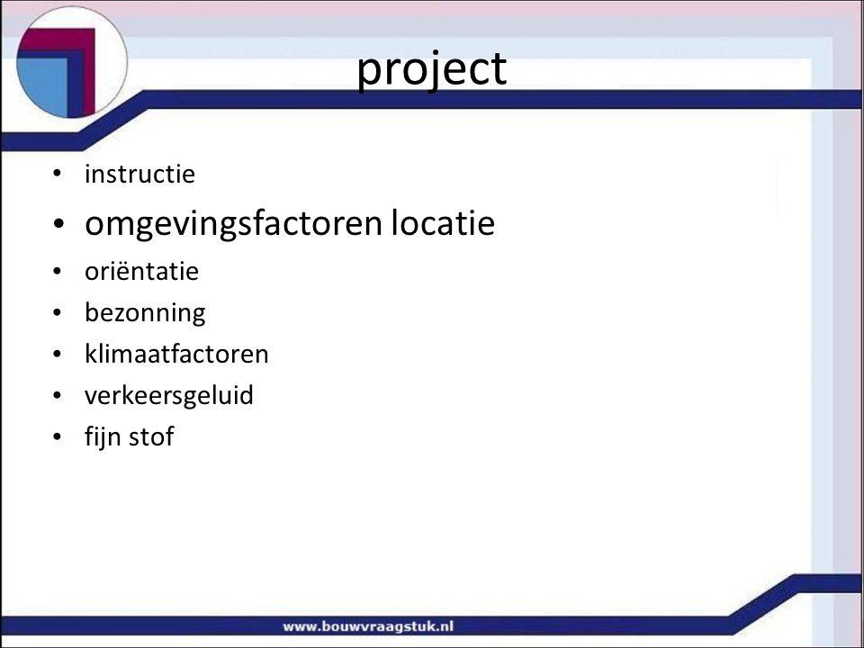 project omgevingsfactoren locatie instructie oriëntatie bezonning