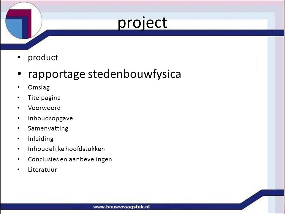 project rapportage stedenbouwfysica product Omslag Titelpagina