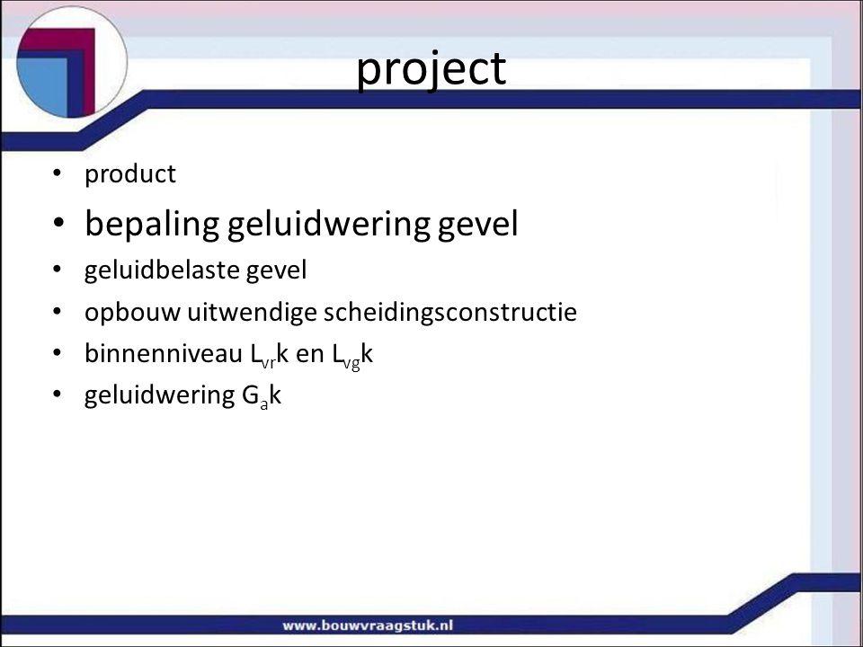 project bepaling geluidwering gevel product geluidbelaste gevel