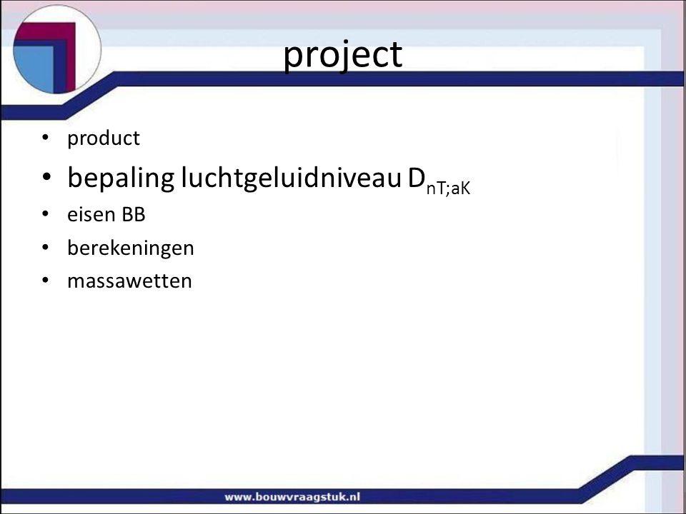 project bepaling luchtgeluidniveau DnT;aK product eisen BB