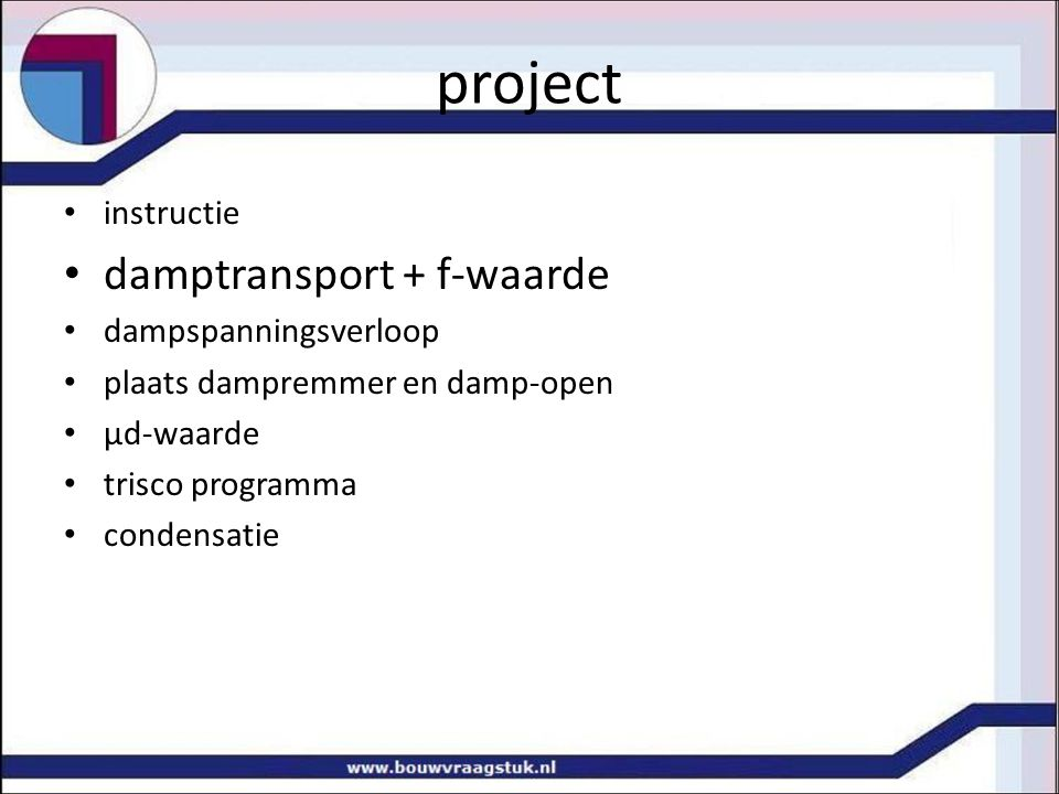 project damptransport + f-waarde instructie dampspanningsverloop