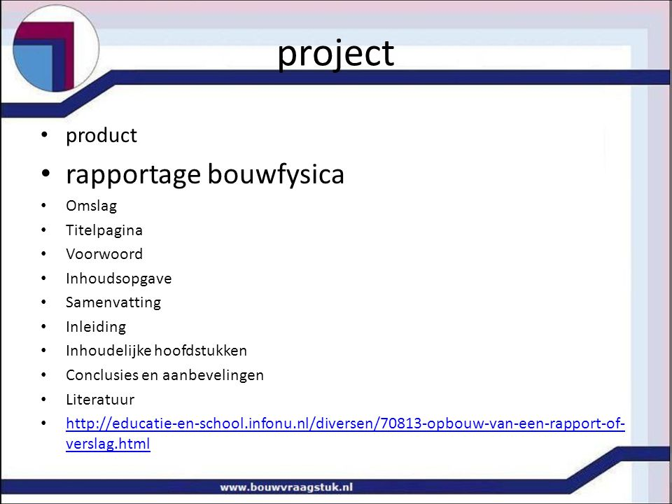 project rapportage bouwfysica product Omslag Titelpagina Voorwoord