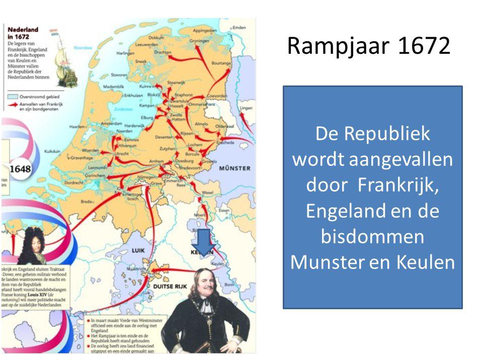 Rampjaar 1672 De Republiek wordt aangevallen door Frankrijk, Engeland en de bisdommen Munster en Keulen.