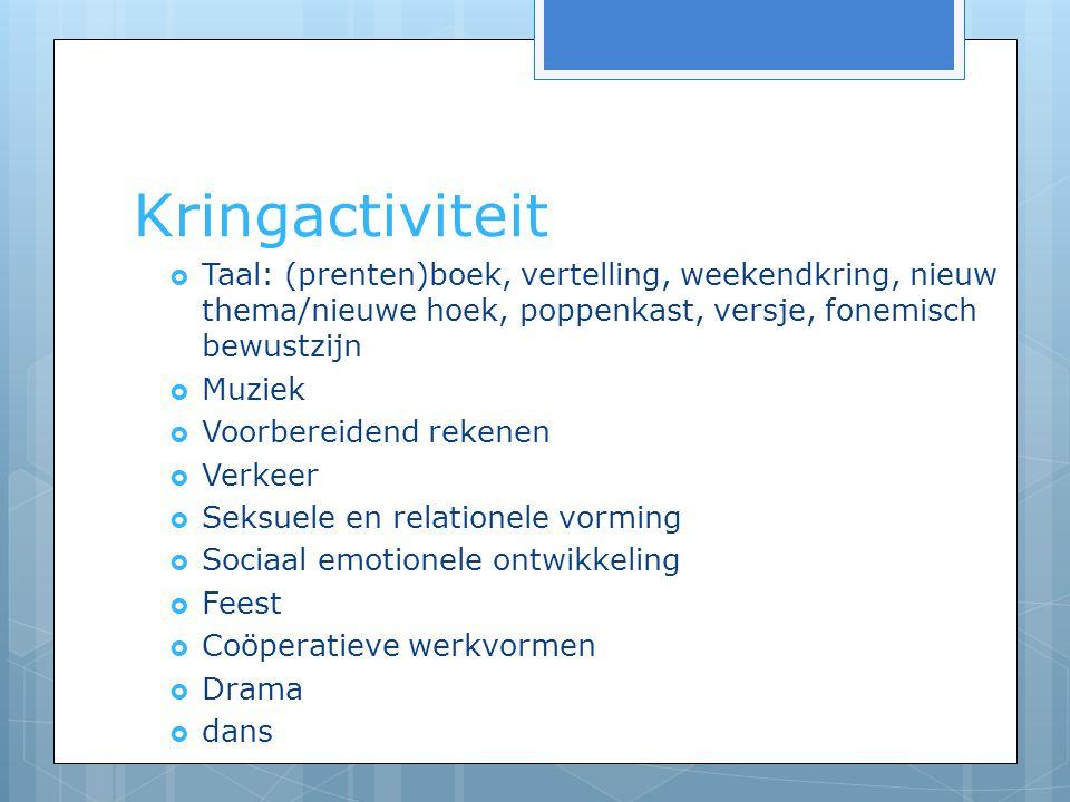 Kringactiviteit Taal: (prenten)boek, vertelling, weekendkring, nieuw thema/nieuwe hoek, poppenkast, versje, fonemisch bewustzijn.