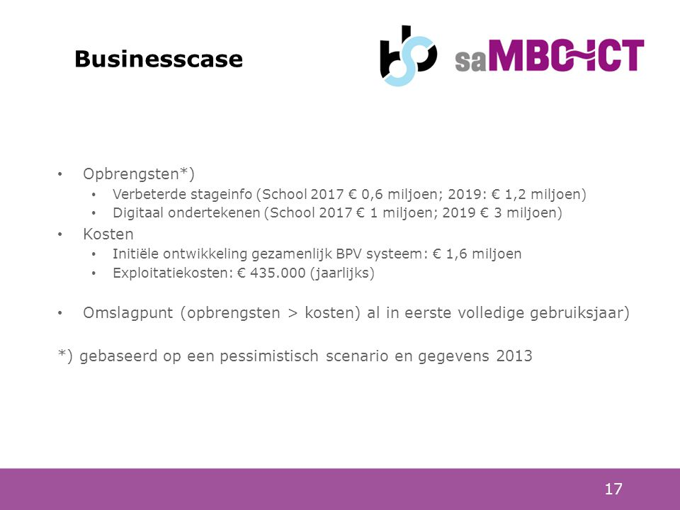 Businesscase Opbrengsten*) Kosten