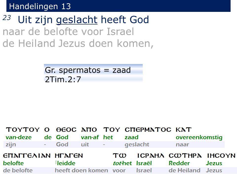 23 Uit zijn geslacht heeft God naar de belofte voor Israel