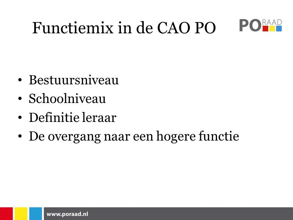 Functiemix in de CAO PO Bestuursniveau Schoolniveau Definitie leraar