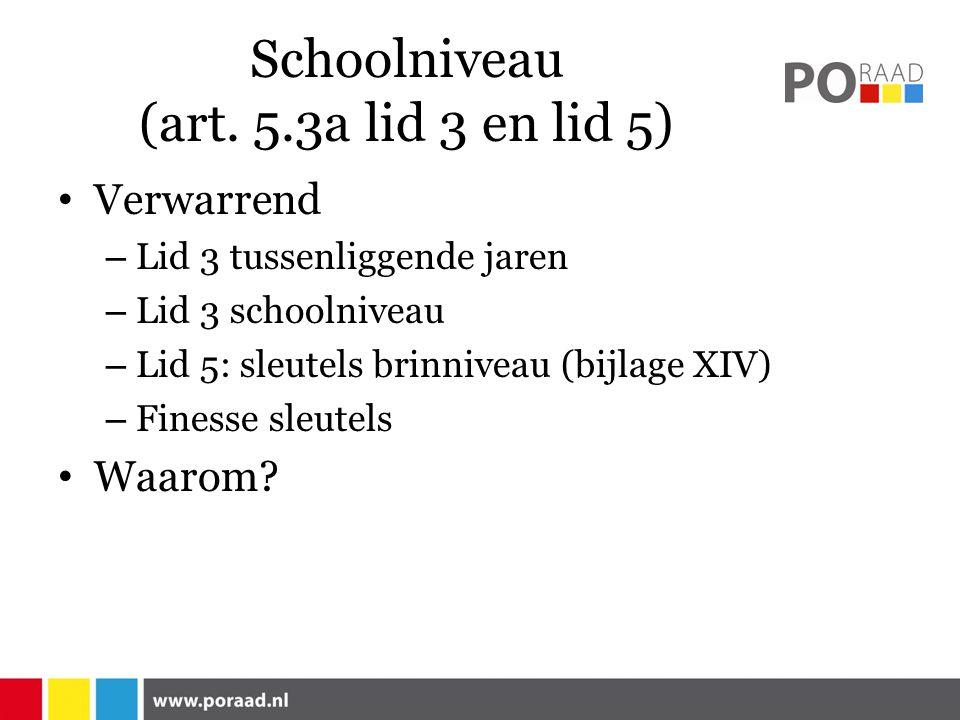 Schoolniveau (art. 5.3a lid 3 en lid 5)