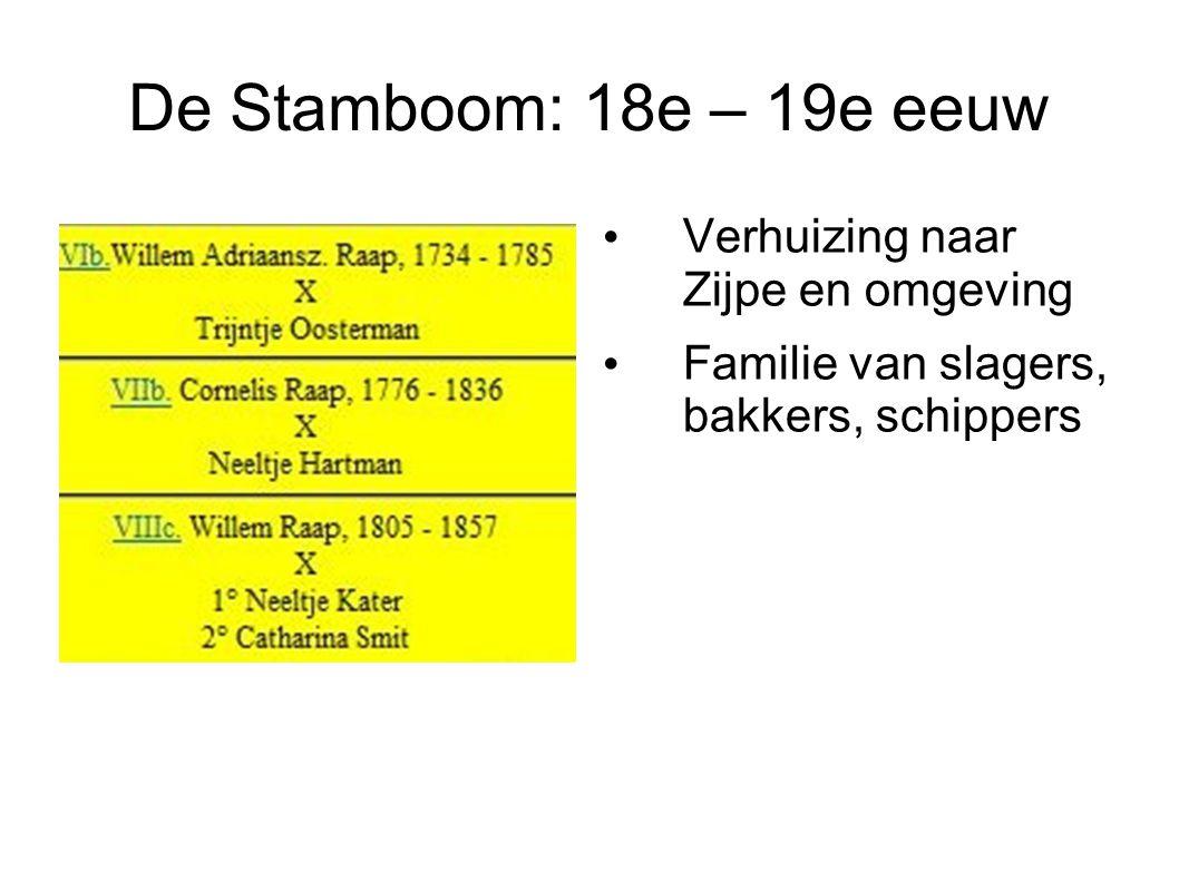De Stamboom: 18e – 19e eeuw Verhuizing naar Zijpe en omgeving