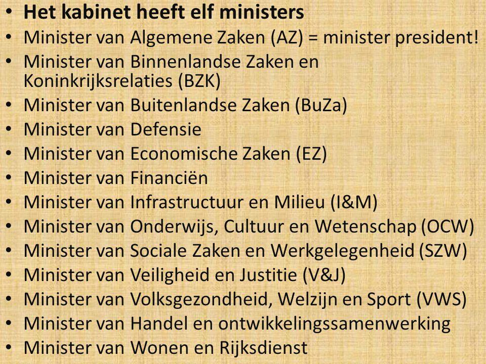 Het kabinet heeft elf ministers