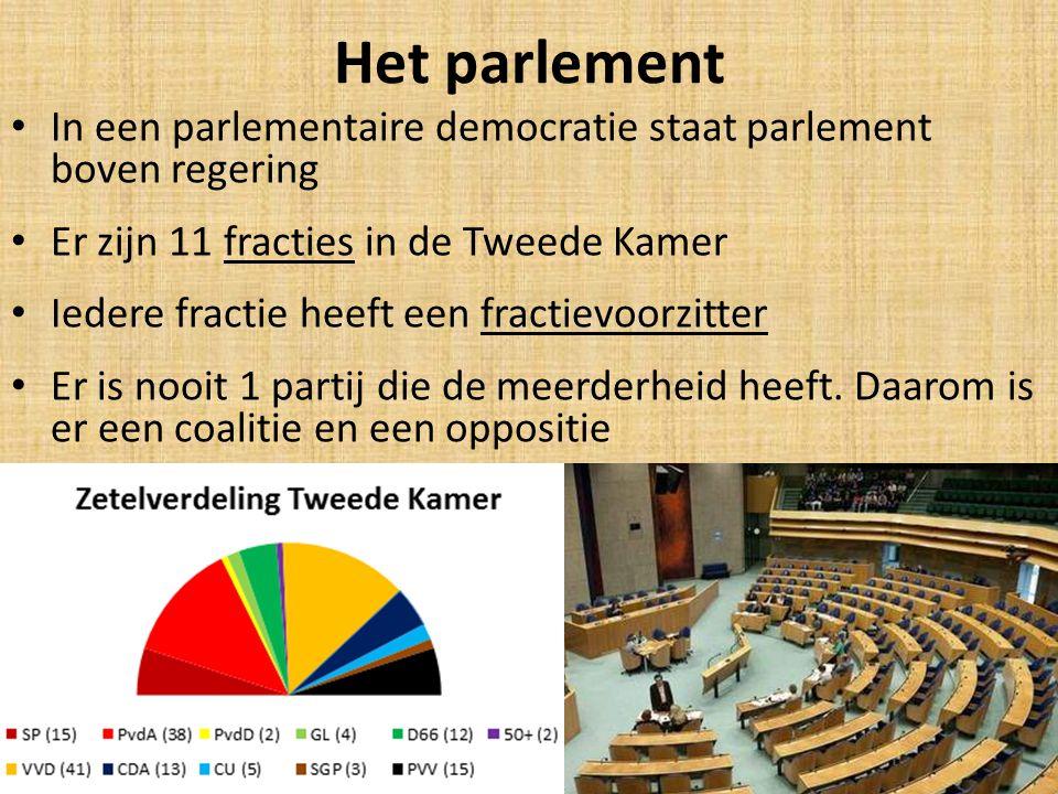 Het parlement In een parlementaire democratie staat parlement boven regering. Er zijn 11 fracties in de Tweede Kamer.