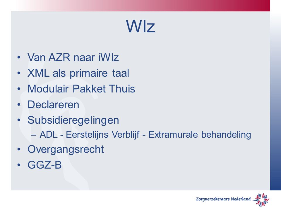 Wlz Van AZR naar iWlz XML als primaire taal Modulair Pakket Thuis