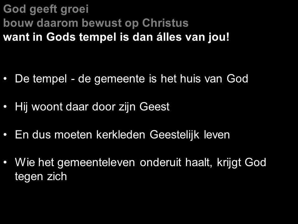 God geeft groei bouw daarom bewust op Christus. want in Gods tempel is dan álles van jou! De tempel - de gemeente is het huis van God.