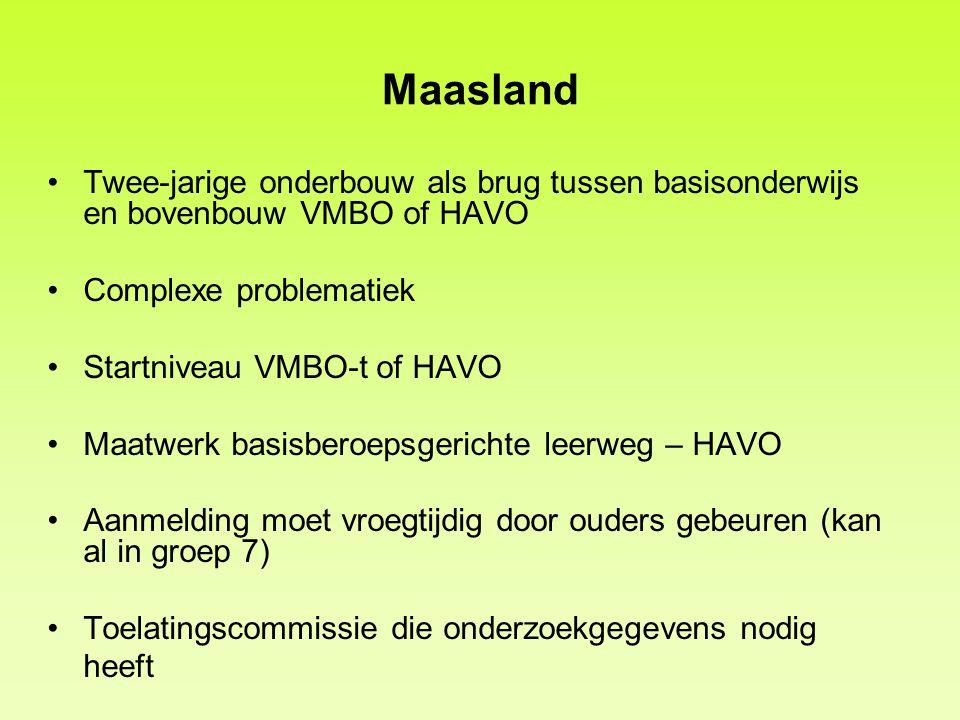 Maasland Twee-jarige onderbouw als brug tussen basisonderwijs en bovenbouw VMBO of HAVO. Complexe problematiek.
