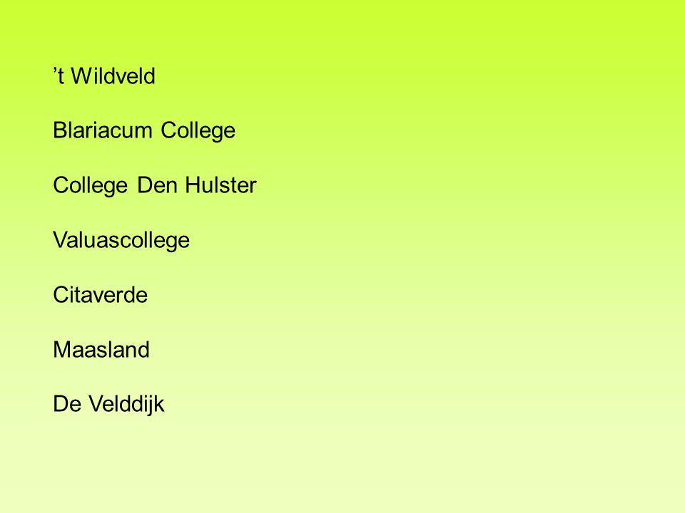 't Wildveld Blariacum College College Den Hulster Valuascollege Citaverde Maasland De Velddijk