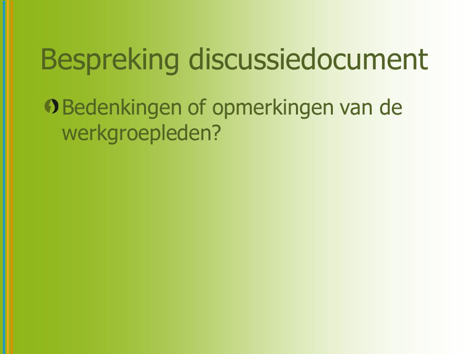 Bespreking discussiedocument