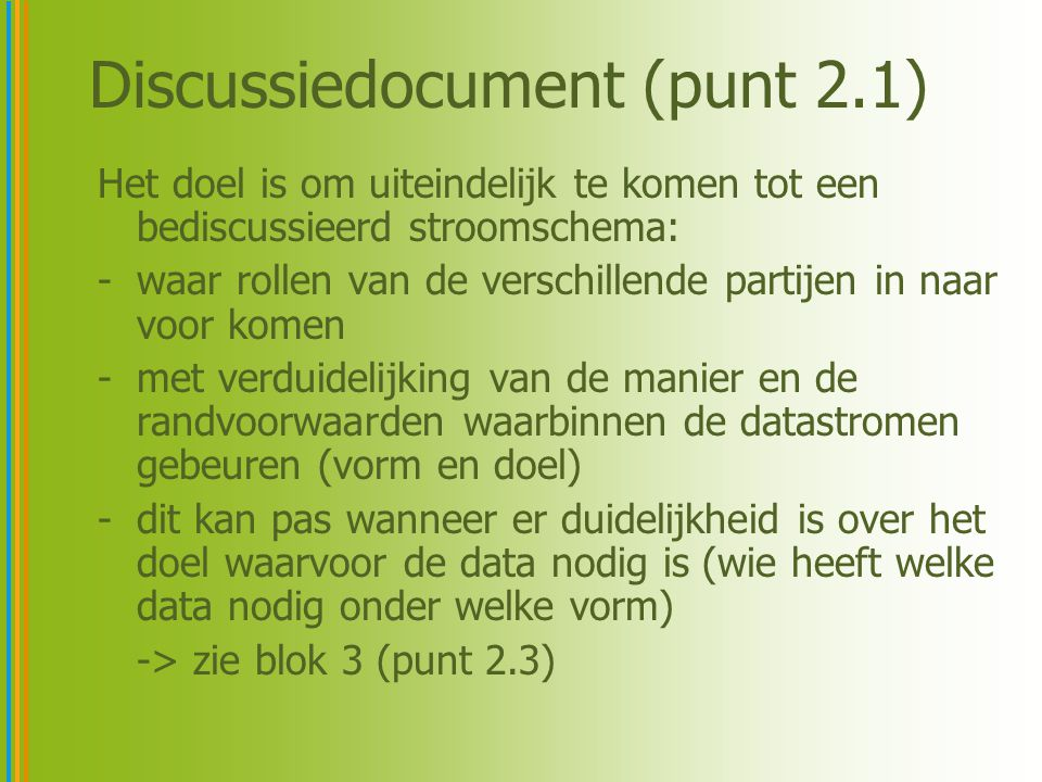 Discussiedocument (punt 2.1)