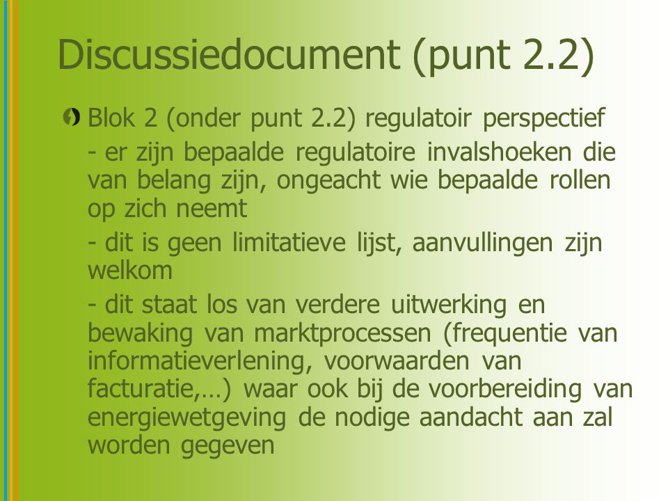 Discussiedocument (punt 2.2)