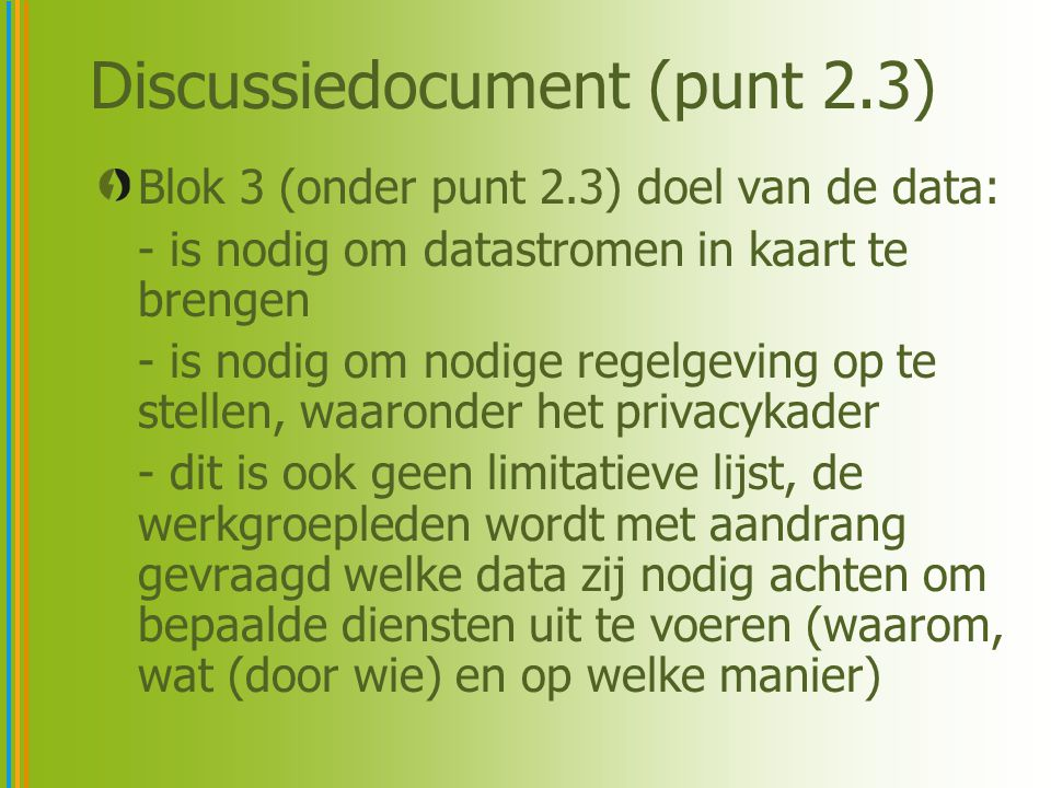 Discussiedocument (punt 2.3)